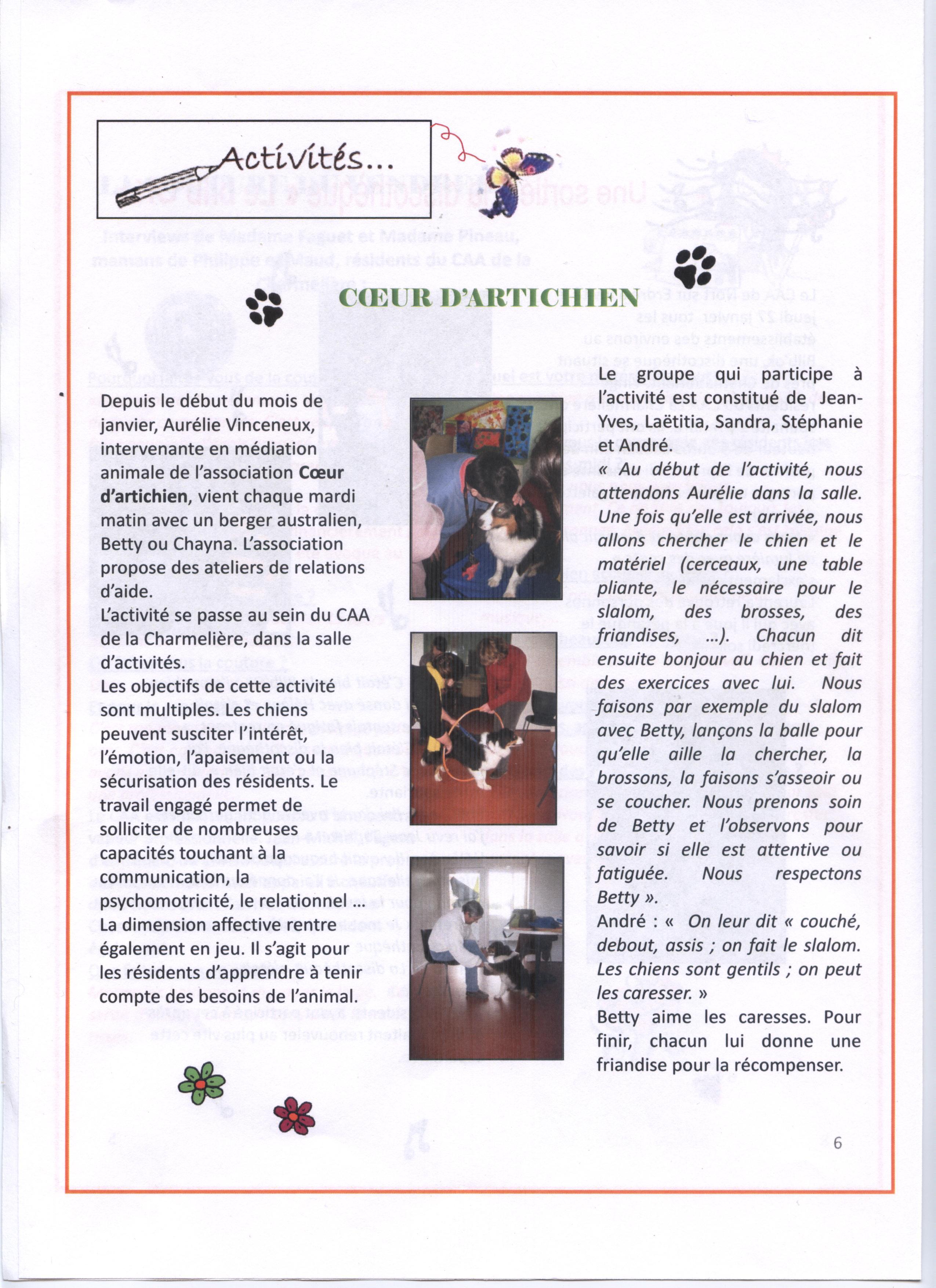 mediation animale zootherapie coeur d'artichien nantes carquefou