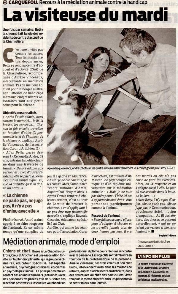 mediation animale nantes coeur d'artichien PresseOcean_24Juin2011