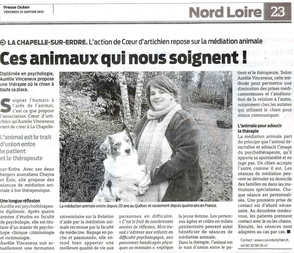 mediation animale coeur d'artichien mediation animale presse ocean