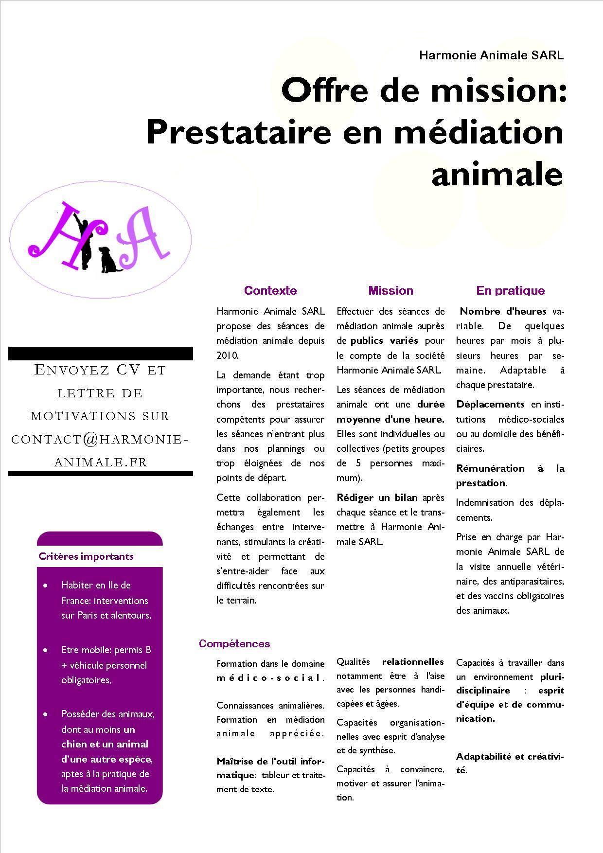 offre d'emploi médiation animale